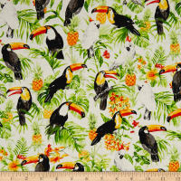 Isle Tropical Birds & Flowers White/Multi
