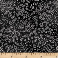 Romance Etched Leaves & Vines Metallic Black/Grey