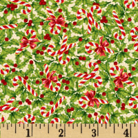 Noel Holly & Candy Canes Metallic Cream/Multi