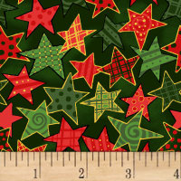 Noel Large Stars Metallic Green/Multi