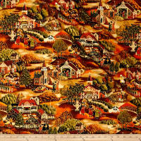 Sentimental Village Scene Metallic Autumn/Multi