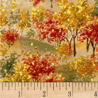 Sentimental Field Of Trees Scene Metallic Autumn/Multi