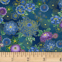 Asian Garden Small Floral Metallic Teal/Multi