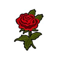 "Clarita Iron-on Embroidered Rose Applique 6"" x 4"""