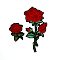 "Maye Red Roses Flower Embroidered Iron On Patch -2 Pack  7"" x 3"" & 3"" x 2"""
