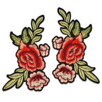 "Janna Iron On Embroidered Rose Applique Pair 8"" x 5 1/4"" Red/Green"