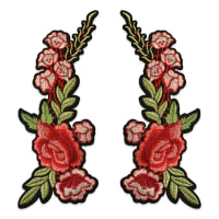 "Trina Iron On Embroidered Roses Applique Pair 11 1/4"" x 5"" Red/Green"