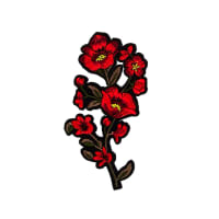 "Sharla Iron On Embroidered Flower Applique  6 1/4"" x 3"""