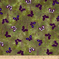 Kanvas Pansy Noir Pansy Butterfly Scroll Olive