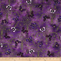 Kanvas Pansy Noir Pansy Butterfly Scroll Purple Metallic