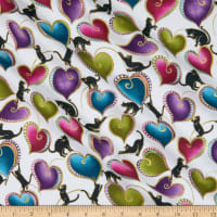 Benartex Cat-I-tude Hearts and Cats Metallic White/Multi