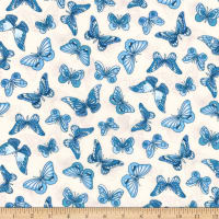 Kaufman London Calling Lawn Blue Butterflies