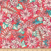 Kaufman London Calling Lawn Coral Flowers