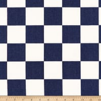 Kaufman Sevenberry Canvas Prints Navy Checks Squares