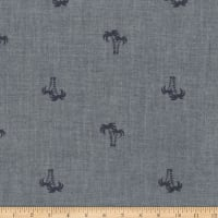 Kaufman Chambray Blvd. Prints Palm Tree Indigo