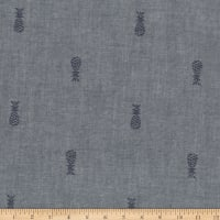 Kaufman Chambray Boulevard Prints Indigo Pineapple