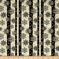 A Festive Season 2 Snowflake Stripe Black/Cream Metallic