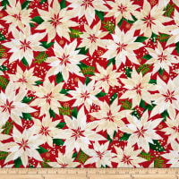 Kanvas Merry & Bright Elegant Poinsettias Metallic Red