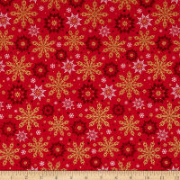 Kanvas Merry & Bright Elegant Snowflakes Metallic Red