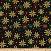 Kanvas Merry & Bright Elegant Snowflakes Metallic Black