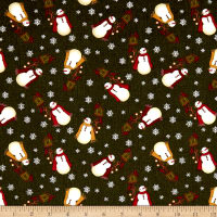 Winter Wonderland Winter Snowman Dark Green