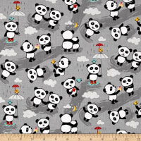 Riley Blake Panda Love Panda Toss Gray
