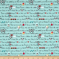 Riley Blake Panda Love Panda Words Aqua