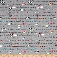 Riley Blake Panda Love Panda Words Gray
