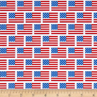 Riley Blake Patriotic Flags White