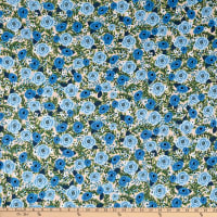 Kaufman Laguna Jersey Knit Prints Blue Flowers