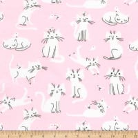 Kaufman Laguna Jersey Knit Prints Pink Cats