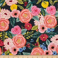 Cotton + Steel Rifle Paper Co. English Garden Juliet Rose Canvas Navy