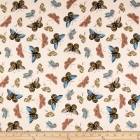 Cotton + Steel Rifle Paper Co. English Garden Lawn Monarch Metallic Cream