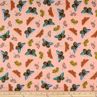 Cotton + Steel Rifle Paper Co. English Garden Lawn Monarch Metallic Peach