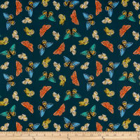 Cotton + Steel Rifle Paper Co. English Garden Lawn Monarch Metallic Navy