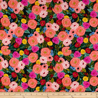 Cotton + Steel Rifle Paper Co. English Garden Rayon Challis Juliet Rose Navy