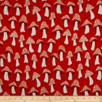 Cotton + Steel Front Yard Mushrooms Rayon Challis Scarlett