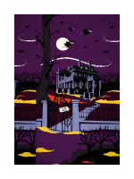 "Riley Blake Haunted House Haunted 24"" Panel Purple"