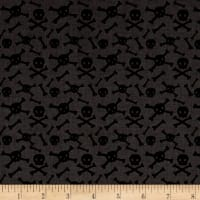 Riley Blake Cats Bats And Jacks Jacks Skulls Charcoal