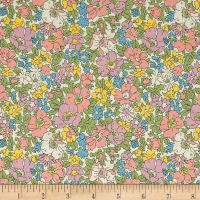 Liberty Fabrics The Cottage Garden Cosmos Meadow Pink Yellow Blue Green