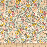Liberty Fabrics The Cottage Garden Cosmos Meadow Pink Yellow Grey