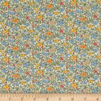 Liberty Fabrics The Cottage Garden Forget Me Not Blue Green Yellow Red