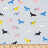 Cloud9 Fabrics Organic No Place Like Home Horse of a Different Color Gray/Multi