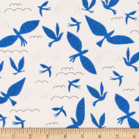 Cloud9 Organic No Place Like Home Blue Birds Fly Ivory/Blue