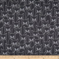 Hoffman Full Moon Cats Metallic Charcoal/Silver