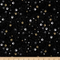 Hoffman Full Moon Paw Prints Metallic Black/Gold