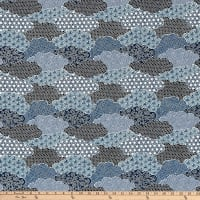 The Moon Rabbit Oriental Abstract Garden Blue