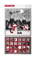 "Red + Grey Christmas Advent Calendar 24"" Panel Metallic Grey/Red"