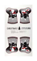 "Red + Grey Christmas Stocking 24"" Panel Grey/Red"