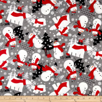 Red + Grey Christmas Tossed Holiday Images Grey/Red